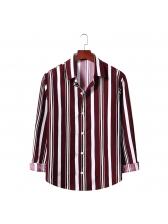 Turndown Collar Striped Mens Shirt Casual