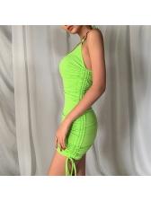 Bright Green Side Drawstring Short Halter Dress