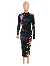 Graffiti Printing Ruched Long Sleeve Maxi Dress