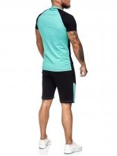 Contrast Color Short Sleeve Mens Activewear