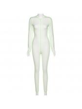 Contrast Trim Sporty Long Sleeve Jumpsuit