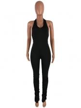 Solid Halter Stacked Split Hem Skinny Jumpsuit