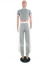 Contrast Color Drawstring Irregular Stacked Pants