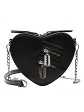 Heart Shape Zipper Decor Chain Shoulder Bags For Women
