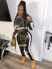 Casual Camouflage Zipper Coat With Skinny Long Pants
