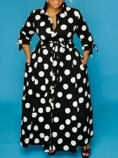 Long Sleeve Dot Print Plus Size Maxi Dress