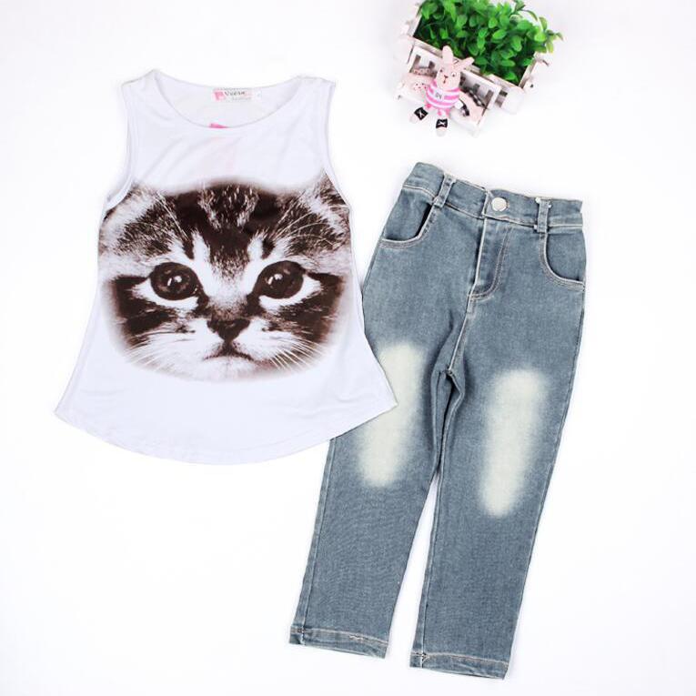Cat Pattern Print Tank Girls Clothing Sets