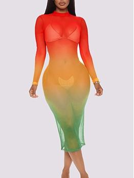 Gradient Color Gauze Back Keyhole Midi Dress