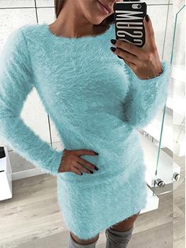 Plus Size Solid Plush Long Sleeve Bodycon Dress