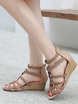 Woven Wedge Heel Retro Roman Wedge Shoes