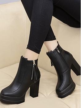 High Platform Chunky Heel Black Boots