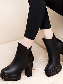 Waterproof Platform Chunky Heel Ankle Boots