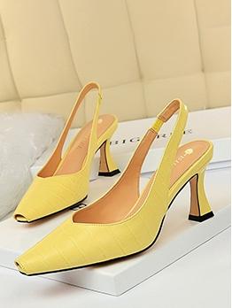 OL Style Solid Women Closed Toe Heels