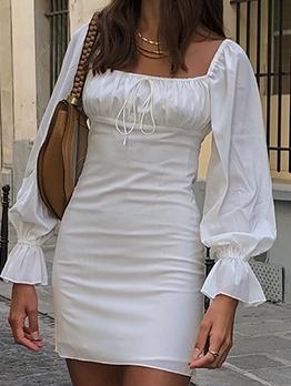 Plain White Square Neck Draped Short Dress