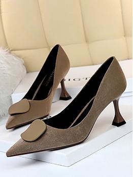 Vintage Solid Suede Pointed Toe Heels