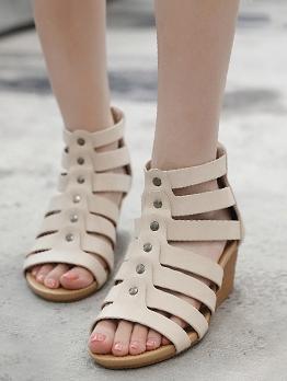 Solid Wedge Mid Heel Women Wedge Shoes