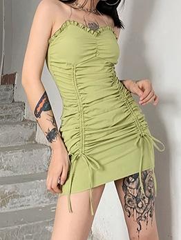 Summer Litter Fresh Halter Solid Skinny Dress