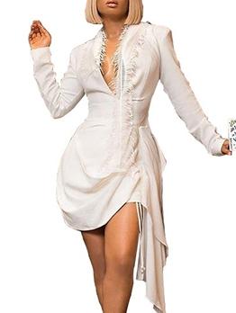 Chic Deep V Neck Irregular Long Sleeve Dress