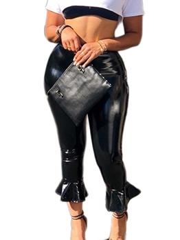 Skinny Flare Bottom Black Leather Pants