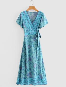 Modern Printed v Neck Wrap Maxi Dress