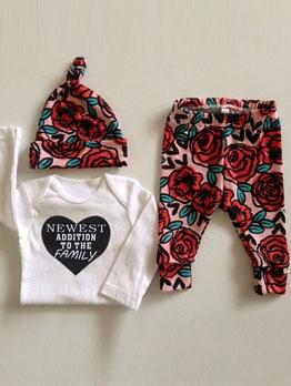 Long Sleeve Heart Shape Print Baby Clothes Set