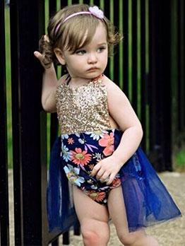 Summer Sequined Sleeveless Baby Girl Print Sleepsuit