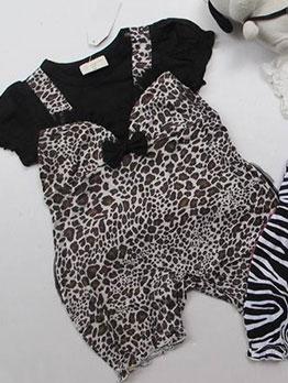 Cute Zebra Print Bow Knot Baby Sleepsuit