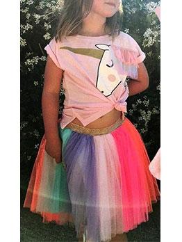 Girls Unicorn Pattern Print Tee With Rainbow Skirt