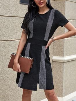 Contrast Color Patchwork Short Sleeve Dress