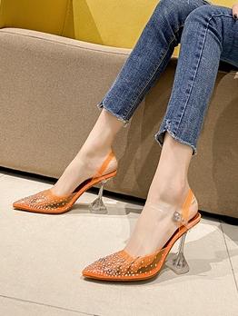 Pointed Toe Rhinestone Ankle Strap Heels