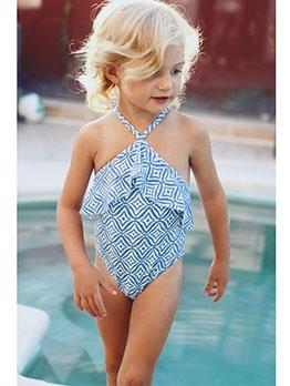 Girls Cute Digital Printed Halter One Piece Swimwear