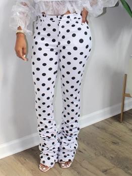 Stylish Polka Dot High Waisted Stacked Pants