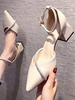 Elegant Pointed Toe Chunky Heel Comfortable Heels