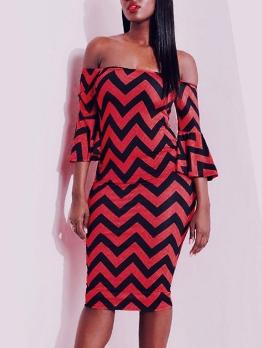 Red Striped Off Shoulder Skinny Dress