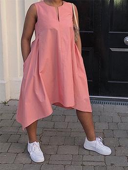 Solid Color Loose Irregular Sleeveless Dress