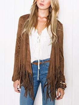 Solid Tassel Women Cardigan Coat