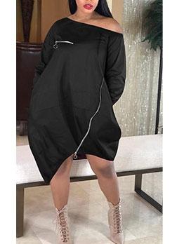 Solid Inclined Shoulder Zipper Long Sleeve Lantern Dress