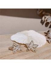 Rhinestone Pentagram Faux Pearl Stud Earrings