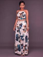 Printed Sleeveless Crop Top And Long Skirt Set