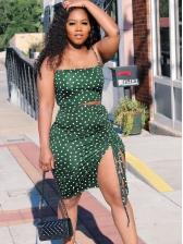 Summer Drawstring Polka Dot Two Piece Skirt Set