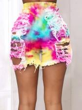 Tie Dye Mid Waist Ripped Denim Shorts