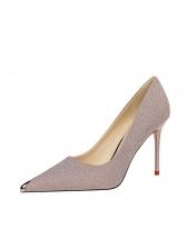 Pointed Toe Solid Slip On Stilettos
