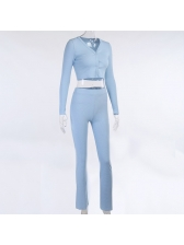 Leisure Solid Color Cropped Two Piece Outfits