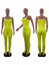 Solid Bottom Pleated Skinny Jumpsuits For Women