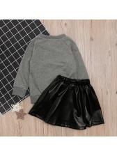 Long Sleeve Letter Print Skirt Girls Clothing Sets