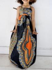 Bohemian Style Printed Sleeveless Maxi Dress With Headband