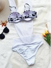 Dairy Cow Print Halter One Pieces Bikini Set