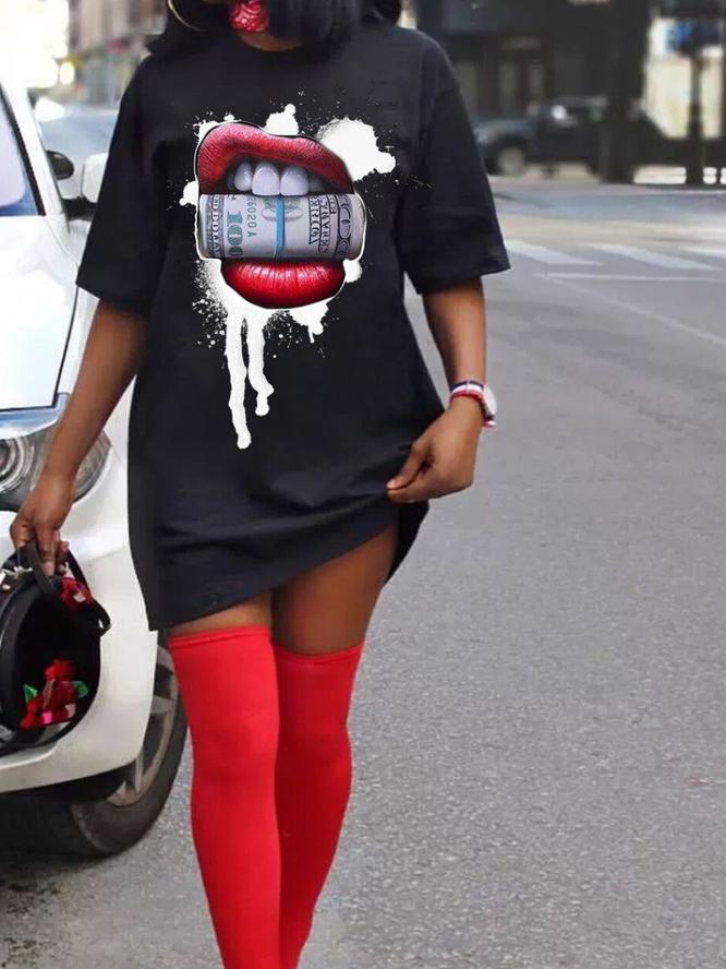 Creative Mouth Print Plus Size T Shirt Dress