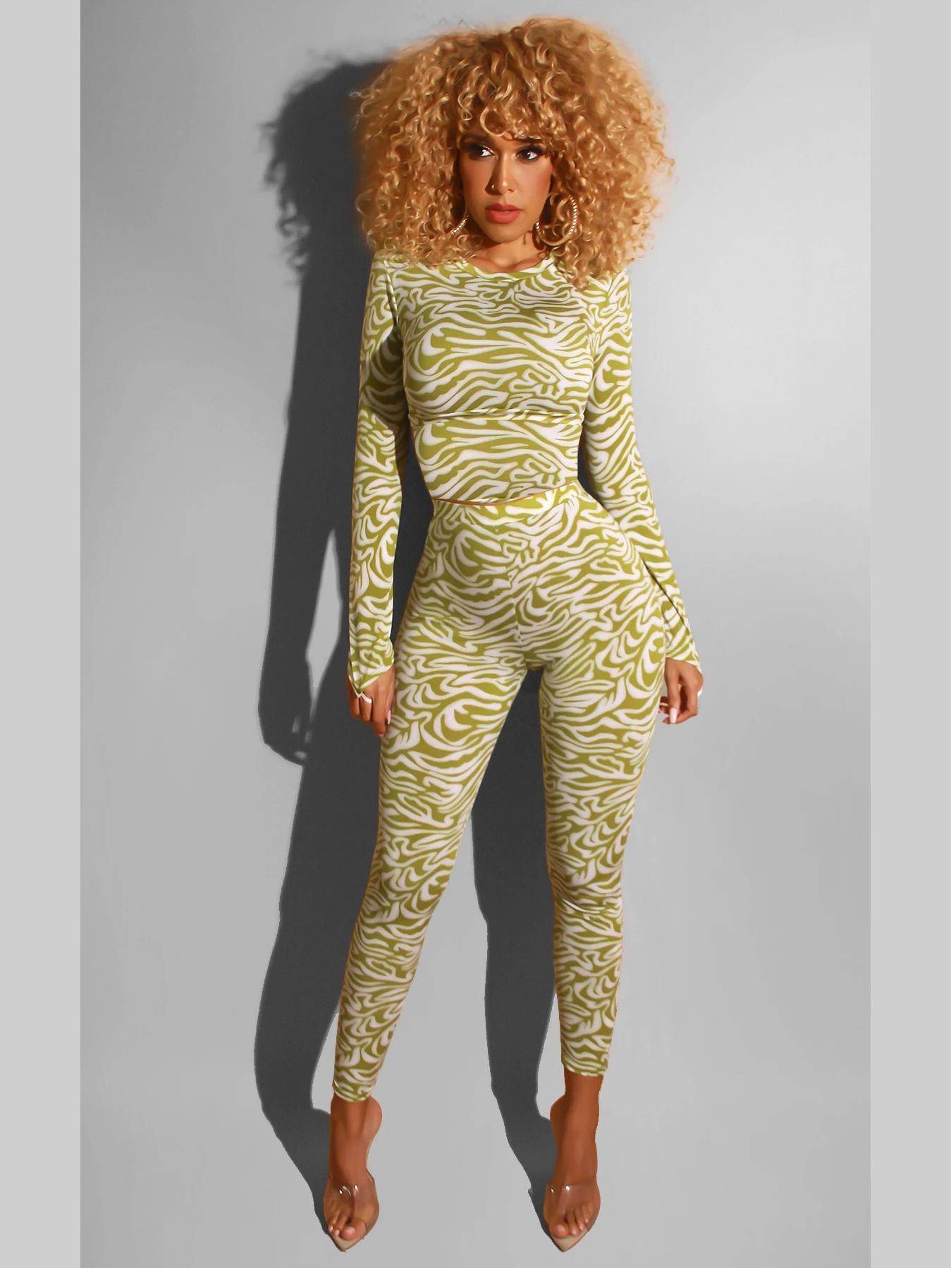 Skinny Casual Print Long Sleeve Pants Set