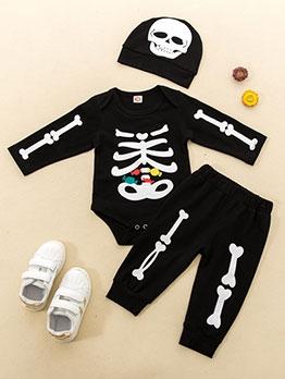 Halloween Skull Printed Long Children Three Suit Set